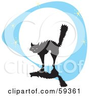 Royalty Free RF Clipart Illustration Of A Frightened Cat Arching Its Back Against A Full Moon by xunantunich