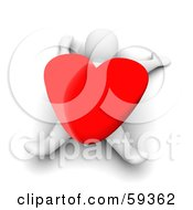 Royalty Free RF Clipart Illustration Of A 3d Blanco Man Character Crushed Under A Giant Red Heart by Jiri Moucka