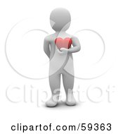 Royalty Free RF Clipart Illustration Of A 3d Blanco Man Character Standing And Holding A Red Heart In Front Of His Chest