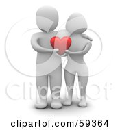 Royalty Free RF Clipart Illustration Of A 3d Blanco Man Character Couple Standing Together And Holding A Heart