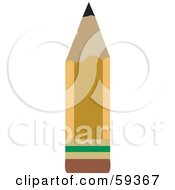 Short And Sharp Yellow School Pencil With An Eraser