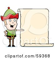 Royalty Free RF Clipart Illustration Of A Male Christmas Elf Presenting A Blank List by Cory Thoman