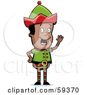 Royalty Free RF Clipart Illustration Of A Male Christmas Elf Smiling And Waving by Cory Thoman