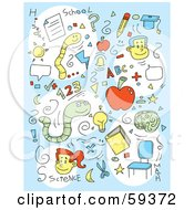 Royalty Free RF Clipart Illustration Of A Blue Background Of School Items And Courses
