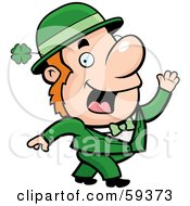 Friendly Irish Man Waving And Dressed In Green