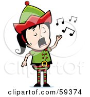 Royalty Free RF Clipart Illustration Of A Female Christmas Elf Singing by Cory Thoman