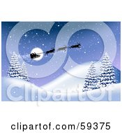 Royalty Free RF Clipart Illustration Of A Group Of Reindeer Flying Santas Magical Sleigh Over A Winter Landscape On Christmas Eve by Oligo
