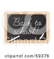 Royalty Free RF Clipart Illustration Of Chalk Writing Back To School On A Black Board