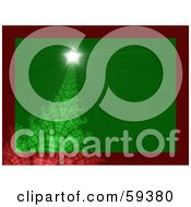 Royalty Free RF Clipart Illustration Of A Green Fractal Christmas Tree With A Shining Star On Green Trimmed In Red
