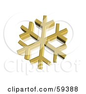 Royalty Free RF Clipart Illustration Of A 3d Golden Snowflake On White