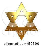Royalty Free RF Clipart Illustration Of A 3d Copper Star Of David On White by ShazamImages