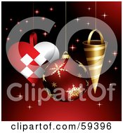 Royalty Free RF Clipart Illustration Of Heart Round And Conical Christmas Ornaments On A Sparkling Red Background by TA Images