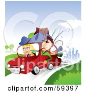 Royalty Free RF Clipart Illustration Of A Young Couple With Camping Gear On Top Of Their Car Taking A Summer Vacation Away From The City by TA Images