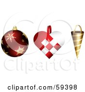 Royalty Free RF Clipart Illustration Of A Digital Collage Of Three Round Heart And Conical Shaped Christmas Ornaments by TA Images