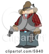 Smiling Cowboy Holding Two Loaded Guns