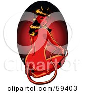 Royalty Free RF Clipart Illustration Of A Sexy Halloween Devil Pinup Woman Sitting On Her Knees And Looking Back by r formidable