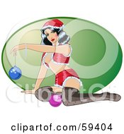 Royalty Free RF Clipart Illustration Of A Sexy Christmas Pinup Woman In A Santa Suit And Stockings Holding Up An Ornament