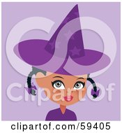 Cute Little African Girl Wearing A Purple Halloween Witch Hat