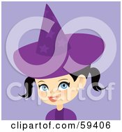Cute Little Black Haired Girl Wearing A Purple Halloween Witch Hat