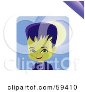 Royalty Free RF Clipart Illustration Of A Friendly Little Frankenstein Smiling by Monica