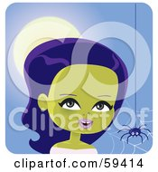 Royalty Free RF Clipart Illustration Of A Pretty Green Skinned Female Monster Near A Spider Web