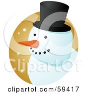 Royalty Free RF Clipart Illustration Of A Friendly Snowman Face With A Carrot Nose And Top Hat