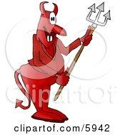 Devil Holding A Pitchfork Clipart Picture
