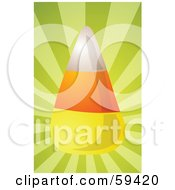 Royalty Free RF Clipart Illustration Of A Shiny Piece Of Candy Corn On A Shining Green Background by Kheng Guan Toh
