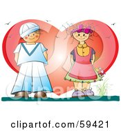 Royalty Free RF Clipart Illustration Of A Little Girl Holding Flowers And Admiring A Sailor Boy In Front Of A Big Heart by pauloribau