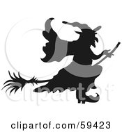 Royalty Free RF Clipart Illustration Of A Silhouetted Wicked Witch In Profile Flying On Her Broomstick