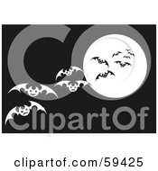 Royalty Free RF Clipart Illustration Of A Swarm Of White Vampire Bats Flying In Front Of A Full Moon In A Dark Brown Sky