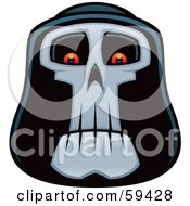 Royalty Free RF Clipart Illustration Of A Grim Reaper Face With Glowing Eyes by John Schwegel