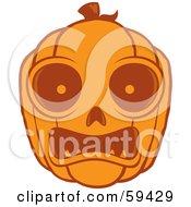 Frightened Orange Pumpkin Face