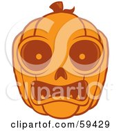 Frightened Orange Pumpkin Face