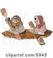 Alaskan Eskimos Canoing Down A River