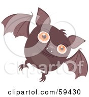 Royalty Free RF Clipart Illustration Of A Chubby Brown Vampire Bat Flying Forward
