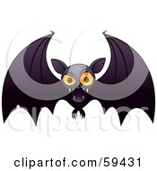 Royalty Free RF Clipart Illustration Of A Mean Orange Eyed Vampire Bat Swooping Forward by John Schwegel