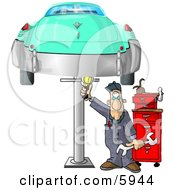 Mechanic Working On An Old Classic Car Clipart Picture