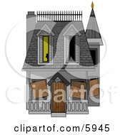 Boarded Up Haunted House Clipart Picture by Dennis Cox