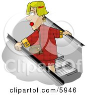Woman Going Up An Escalator In A Shopping Mall Clipart Picture