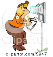 Electric Meter Reader Writing Down Electricity Usage by djart