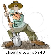 Man Digging Dirt With A Round Point Shovel Clipart Picture