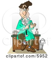 Male Doctor Sitting On His Desk While Talking Clipart Picture