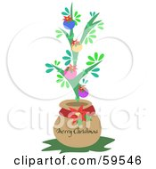 Royalty Free RF Clipart Illustration Of A Small Christmas Tree In A Pot
