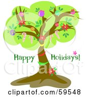 Royalty Free RF Clipart Illustration Of A Happy Holidays Greeting With A Lush Tree Decorated With Baubles And Candy Canes by bpearth