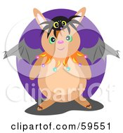 Royalty Free RF Clipart Illustration Of A Chubby Bunny Wearing Bat Wings And A Spider On His Head by bpearth