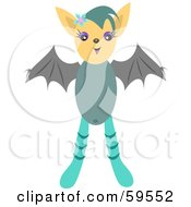 Cute Teal Bat Girl With Gray Wings