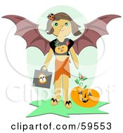 Little Girl In A Halloween Bat Costume