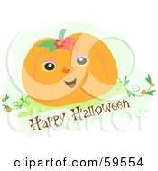Friendly Pumpkin Wearing A Flower On A Happy Halloween Greeting