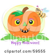 Royalty Free RF Clipart Illustration Of A Bee On A Pumpkin With A Happy Halloween Greeting